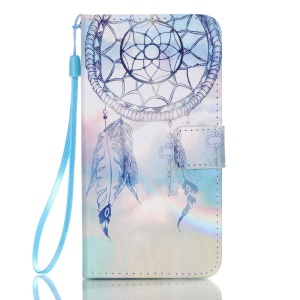 Patterned Leather Wallet Flip Case for Samsung Galaxy J5 (2016) - Dream Catcher and Rainbow