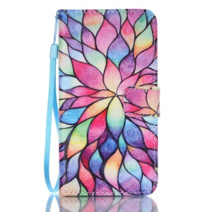 Patterned Leather Wallet Flip Cover for Samsung Galaxy J5 (2016) - Colorful Lotus