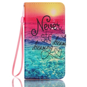 Patterned Leather Wallet Phone Cover for Samsung Galaxy J5 (2016) - Never Stop Dreaming