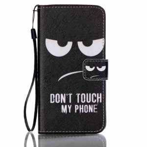Patterned Leather Wallet Phone Shell for Samsung Galaxy J5 (2016) - Do Not Touch My Phone
