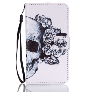 Patterned Leather Card Holder Cover for Samsung Galaxy J5 (2016) - Skull and Rose