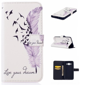 Embossed Leather Wallet Cover for Samsung Galaxy J5 (2016) - Feather