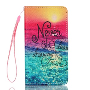 Leather Wallet Card Holder Case for Samsung Galaxy J7 (2016) - Never Stop Dreaming