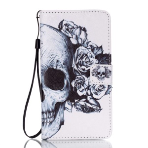 Stand Leather Wallet Cover for Samsung Galaxy J7 (2016) - Skull with Roses