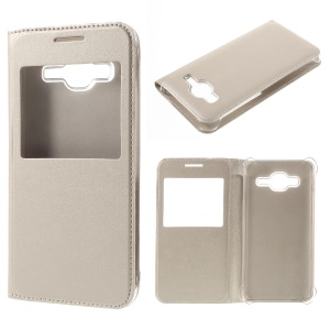 Window View PU Leather Case for Samsung Galaxy J3 / J3 (2016) - Gold