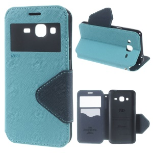 ROAR KOREA View Window Leather Stand Cover for Samsung Galaxy J3 (2016) / J3 - Baby Blue