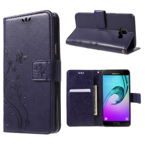 Floral Butterfly Imprint Leather Case Cover for Samsung Galaxy A5 SM-A510F - Purple