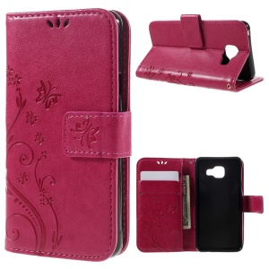Floral Butterfly Imprint Leather Case Cover for Samsung A3 SM-A310F (2016) - Rose