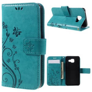 Floral Butterfly Imprint Leather Flip Case for Samsung Galaxy A3 SM-A310F (2016) - Blue