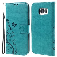 Butterfly Card Holder Leather Cover for Samsung Galaxy S7 edge G935 - Blue