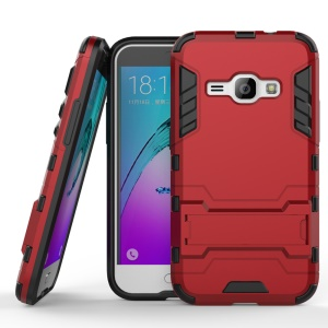 PC TPU Hybrid Shell for Samsung Galaxy J1 (2016) with Kickstand - Red
