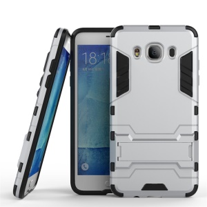 PC TPU Hybrid Cover for Samsung Galaxy J5 (2016) with Kickstand - Silver
