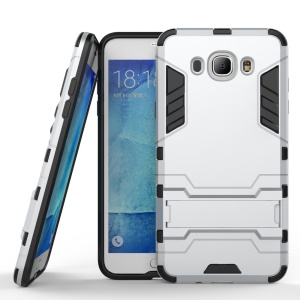 PC and TPU Hybrid Case with Kickstand for Samsung Galaxy J7 (2016) - Silver