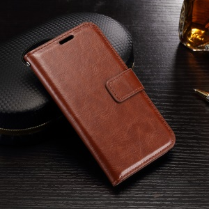 Crazy Horse Leather Wallet Case for Samsung Galaxy J1 (2016) - Brown