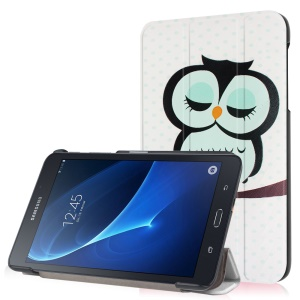 Tri-fold Stand Leather Shell for Samsung Galaxy Tab A 7.0 T280 T285 - Dozing Owl