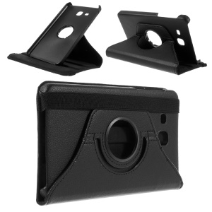 Full Rotary Stand Litchi Leather Case for Samsung Galaxy Tab A 7.0 T280 T285 - Black