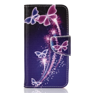 Patterned Leather Flip Case for Samsung Galaxy S7 G930 - Purple Butterfly