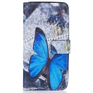 Patterned Wallet Stand Leather Cover for Samsung Galaxy J5 (2016) - Blue Butterfly