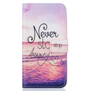 Patterned Stand Leather Flip Case for Samsung Galaxy J5 (2016) - Never Stop Dreaming