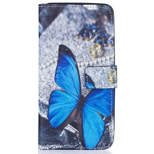 Pattern Printing Leather Wallet Cover for Samsung Galaxy J7 (2016) - Blue Butterfly