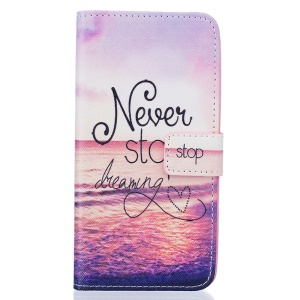 Pattern Printing Protective Leather Case for Samsung Galaxy J7 (2016) - Never Stop Dreaming