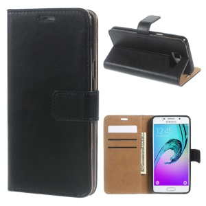 Crazy Horse Leather Wallet Case for Samsung Galaxy A5 SM-A510F (2016) - Black