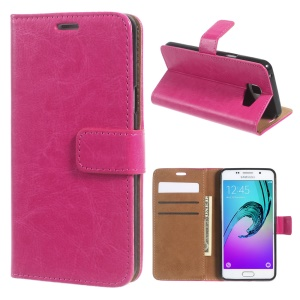 Crazy Horse Leather Wallet Cover for Samsung Galaxy A5 SM-A510F (2016) - Rose