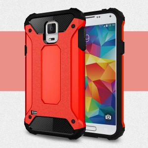 Armor PC TPU Hybrid Back Case for Samsung Galaxy S5 G900 - Red