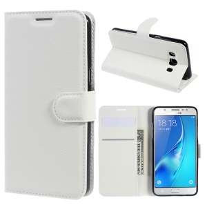 Litchi Grain Wallet Leather Stand Cover for Samsung Galaxy J5 (2016) J510 - White