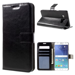 Crazy Horse Leather Wallet Stand Case for Samsung Galaxy J7 (2016) - Black