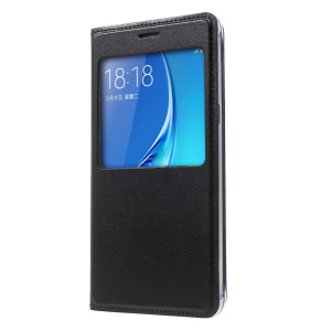 View Window Leather Flip Case for Samsung Galaxy J5 (2016) - Black