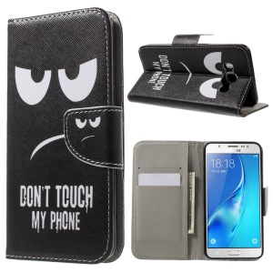 Patterned Leather Wallet Case for Samsung Galaxy J5 (2016) - Do Not Touch My Phone