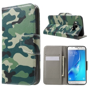 Patterned Leather Phone Cover for Samsung Galaxy J5 (2016) - Camouflage Pattern