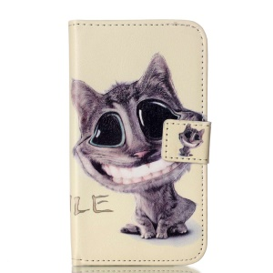 Embossed Leather Wallet Stand Flip Shell for Samsung Galaxy J1 SM-J100 - Lovely Cat