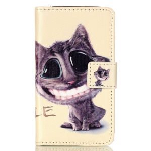 Embossed Leather Wallet Stand Shell for Samsung Galaxy J1 Mini - Lovely Cat