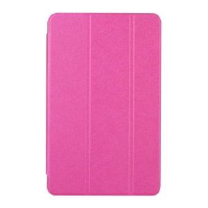 Silk Texture Tri-fold Stand Leather Case for Samsung Galaxy Tab A 7.0 T280 T285 - Rose