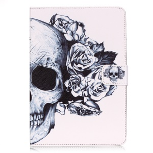 Smart Leather Card Holder Case for Samsung Galaxy Tab S2 8.0 T710 T715 - Skull with Flower