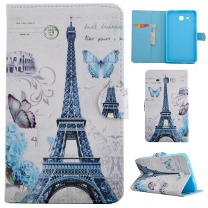 Fragrant PU Leather Smart Cover for Samsung Galaxy Tab A 7.0 T280 T285 - Eiffel Tower & Dancing Butterflies