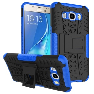 PC TPU Hybrid Back Cover for Samsung Galaxy J5 (2016) with Kickstand - Blue
