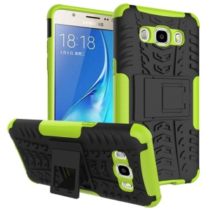 PC TPU Phone Cover for Samsung Galaxy J7 (2016) with Kickstand - Green