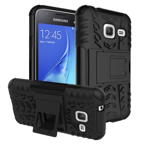 PC TPU Hybrid Cover for Samsung Galaxy J1 mini with Kickstand - Black