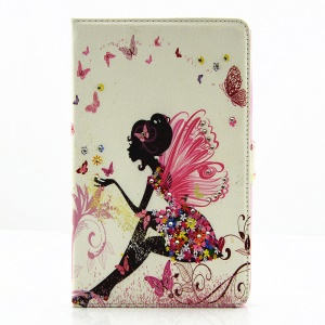 For Samsung Galaxy Tab E 8.0 T375 T377 Tablet Leather Smart Case with Rhinestone Decorated - Cute Girl