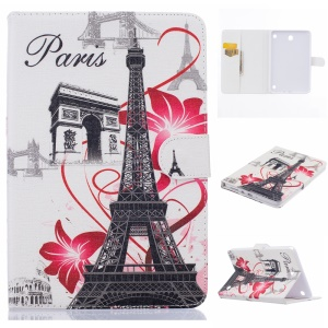 Magnetic Leather Stand Cover for Samsung Galaxy Tab A 8.0 SM-T350 - Triumphal Arch and Eiffel Tower