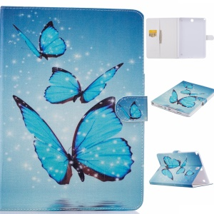 Patterned Leather Flip Case for Samsung Galaxy Tab A 9.7 T550 T555 - Blue Butterfly