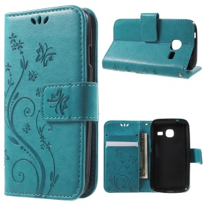 Butterfly Series Imprint Leather Wallet Shell for Samsung Galaxy J1 mini - Blue