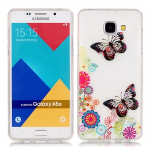 Glossy TPU IMD Skin Cover for Samsung Galaxy A5 SM-A510F (2016) - Floral Butterflies