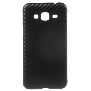 Leather Coated Hard Protective Shell for Samsung Galaxy J3 (2016) / J3 - Black Carbon Fiber Pattern