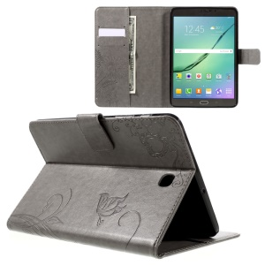 For Samsung Galaxy Tab S2 8.0 T710 T715 Imprint Flower Leather Tablet Cover - Grey