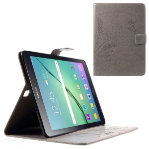 Imprint Flower Leather Stand Cover for Samsung Galaxy Tab S2 9.7 T810 T815 - Grey