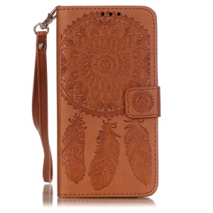Imprinted Windbell Pattern Leather Wallet Stand Cover for Samsung Galaxy Grand Prime SM-G530 with Lanyard - Brown